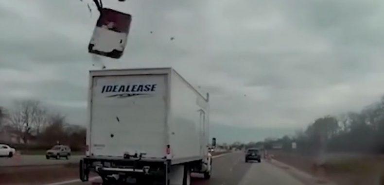 Speeding Truck Hits Man on Cherry Picker